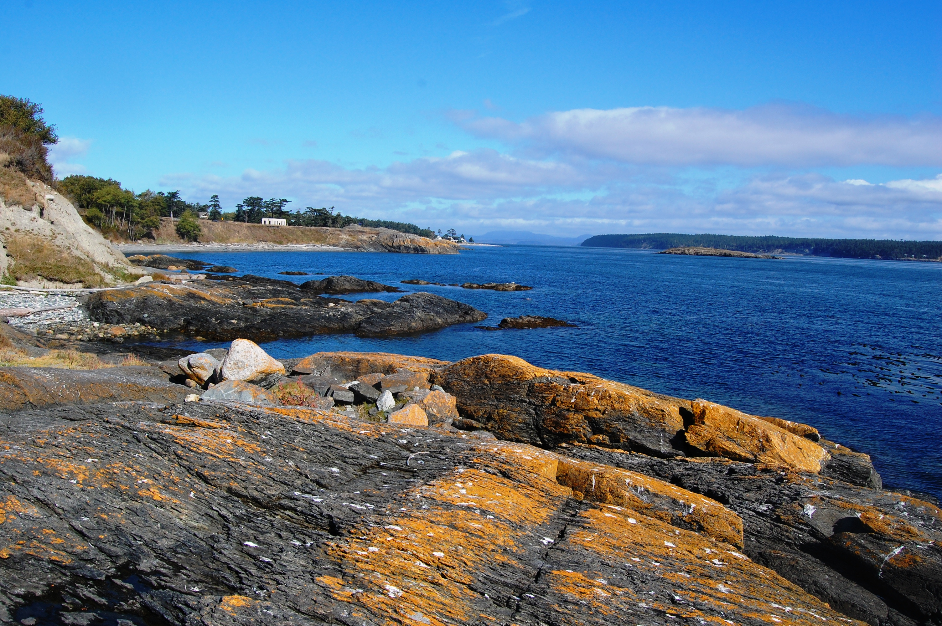 Yellow cliffs framing blue Ocean water