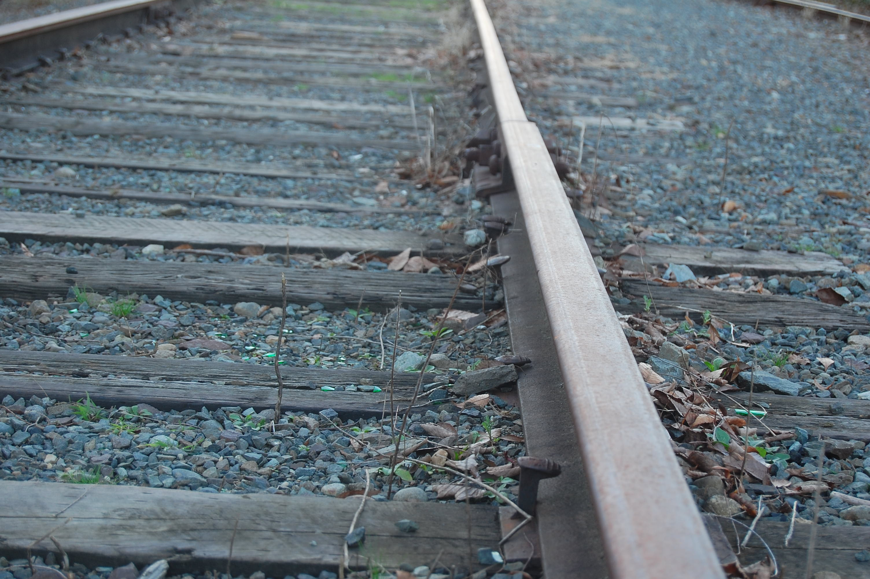 Railway track moving away into the distance