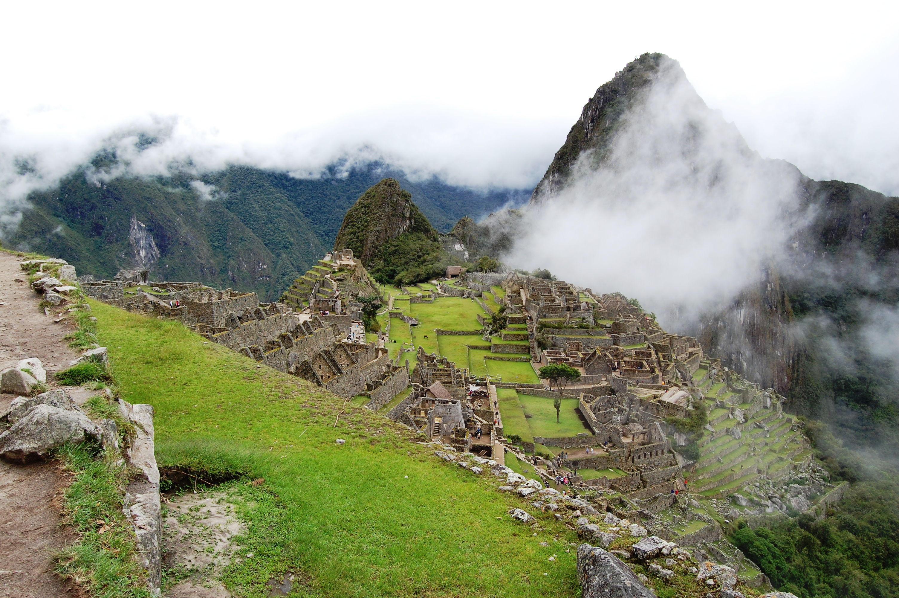 Overlooking the main square of the mountain village of Machu Picchu, Peru.